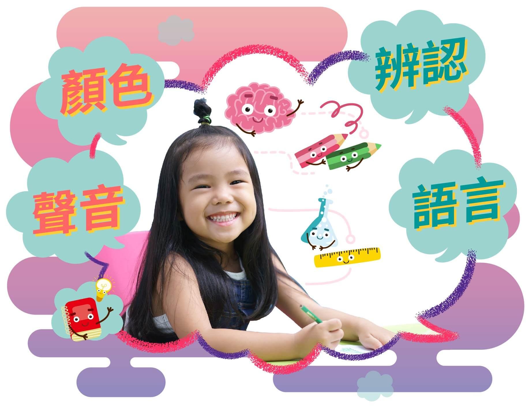 寫作和說話的預備,顏色識別,發音辨別,辨認語言,